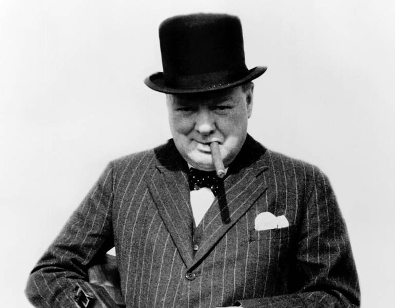 Churchill With Tommy Gun