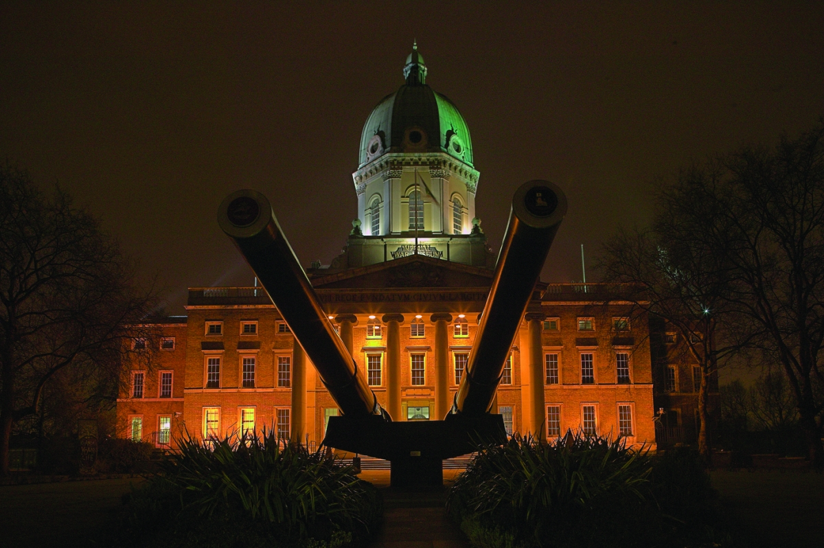 Front shot of IWM London at night