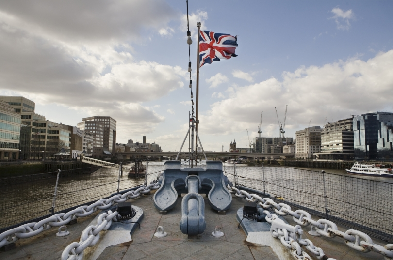 View of Union Jack on HMS Belfast