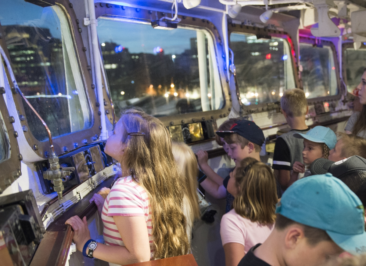 Children on Kip in a Ship night, HMS Belfast