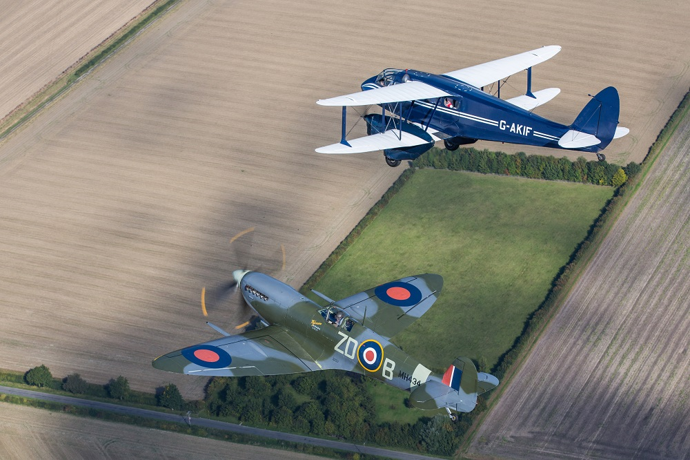Dragon Rapide and Spitfire flying pair