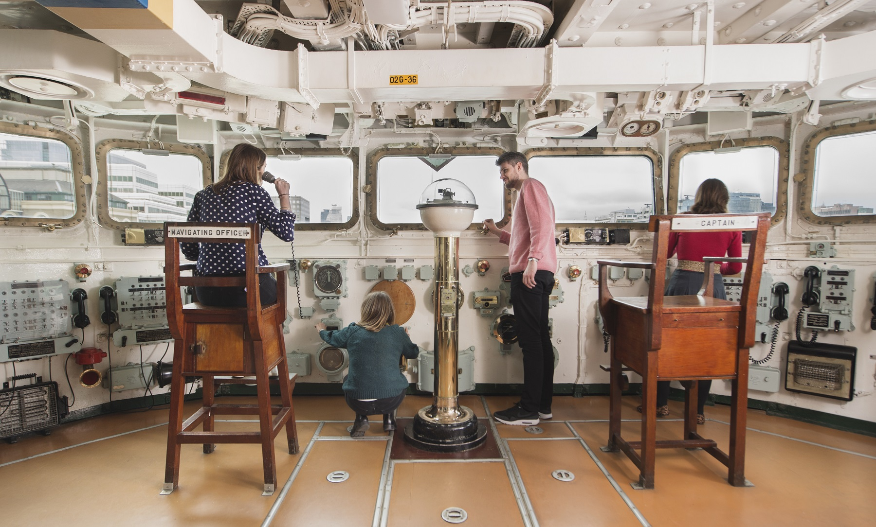 Visitors on the captain's deck at HMS Belfast
