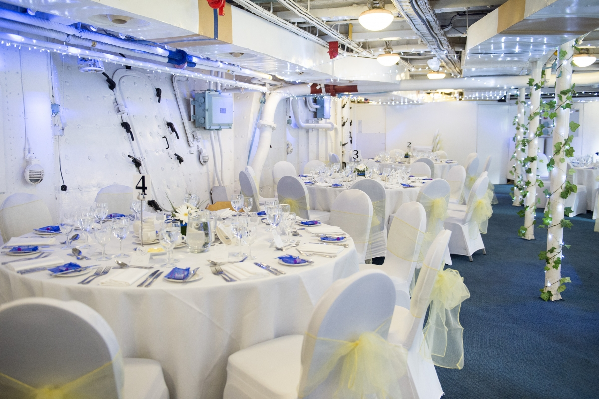The Ship's Company Hall set up for a Wedding