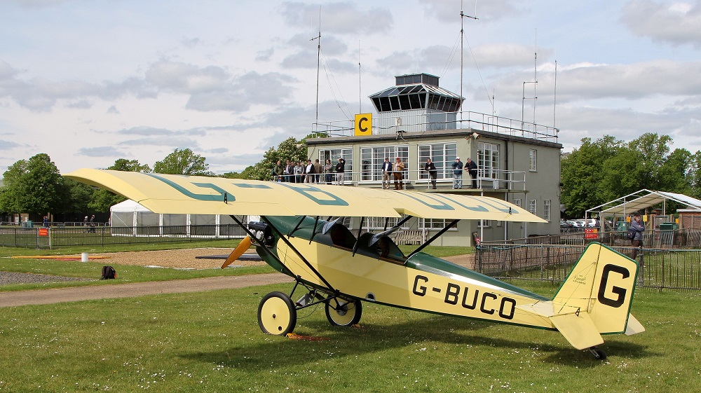 GA aircraft parked close to IWM Duxford control tower