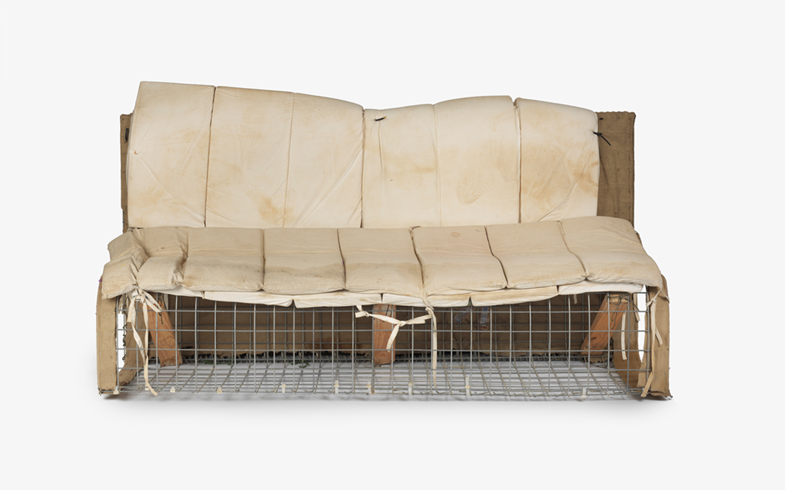 Improvised sofa made from a HESCO by the British Army in Afghanistan