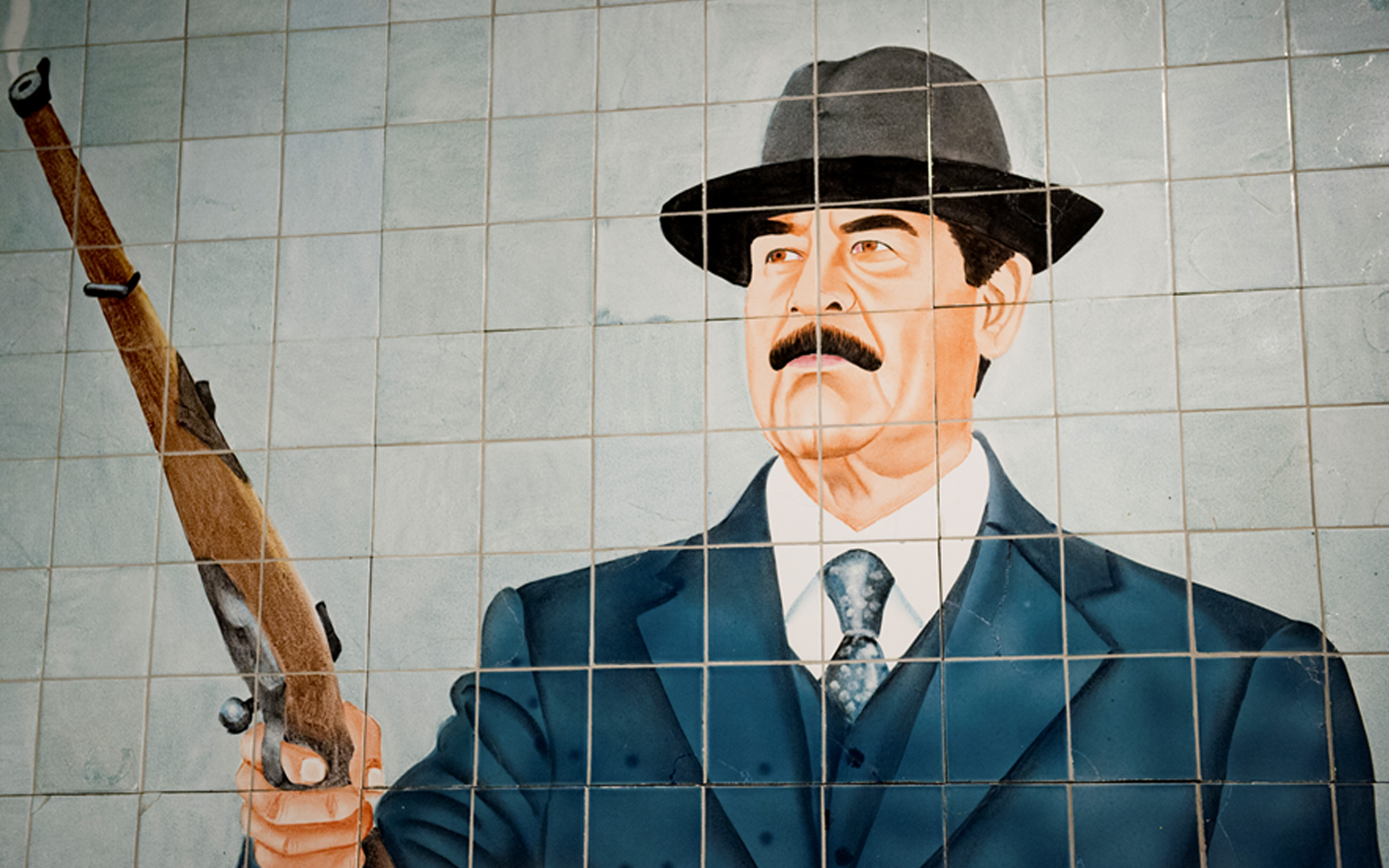 Mosaic mural depicting Saddam Hussein