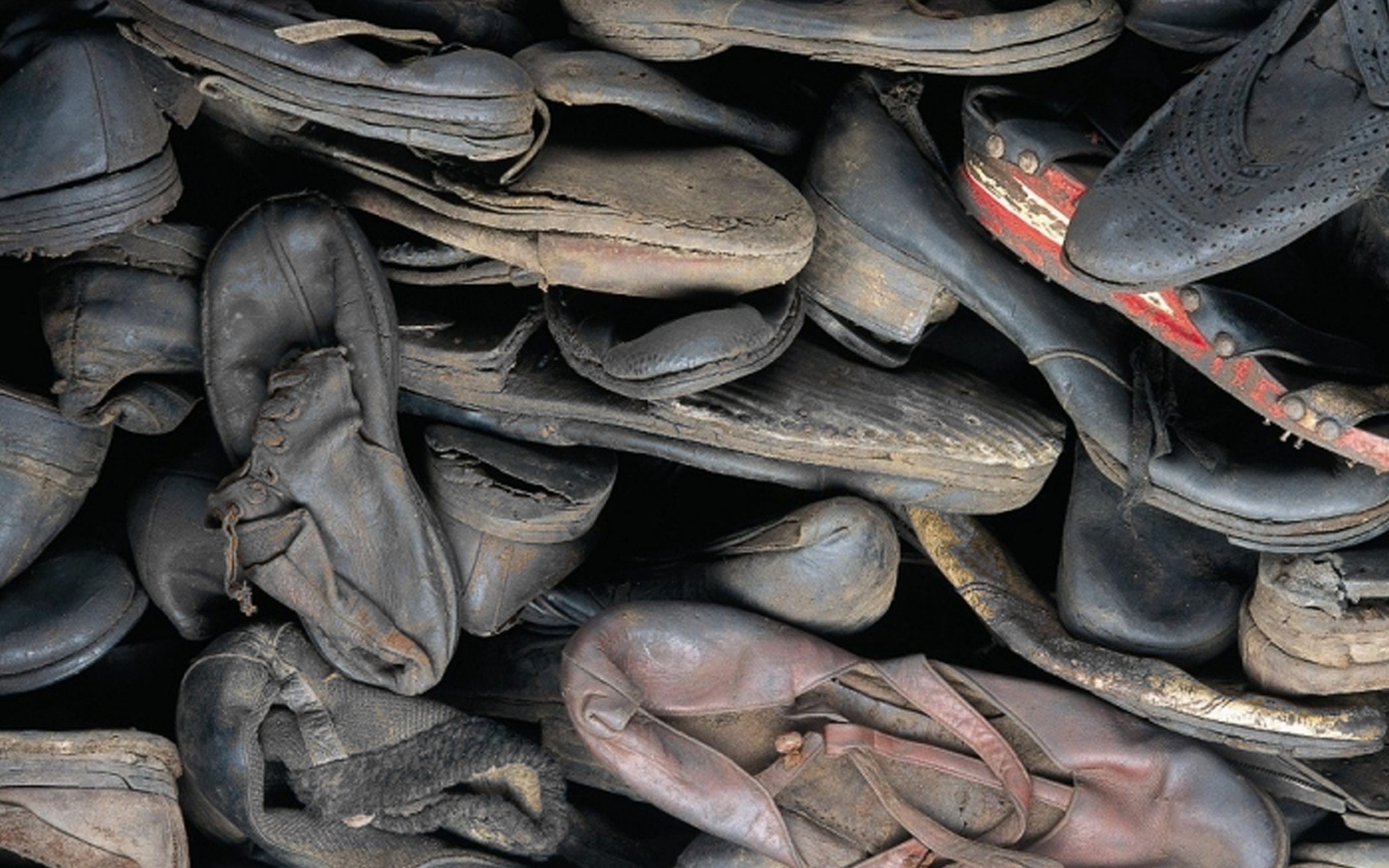Shoes on display in the Holocaust Exhibition