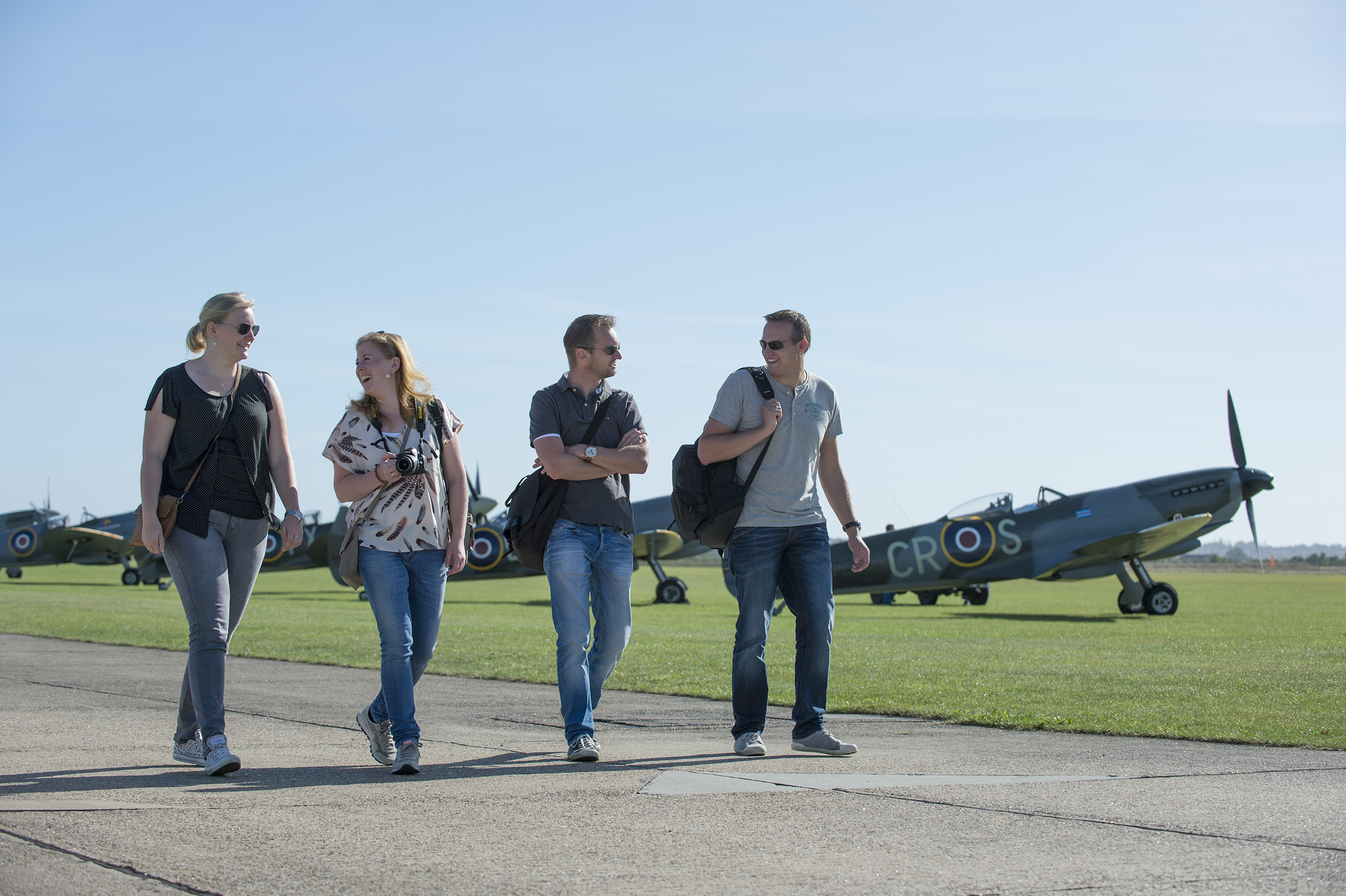 Group enjoying Duxford Air Show