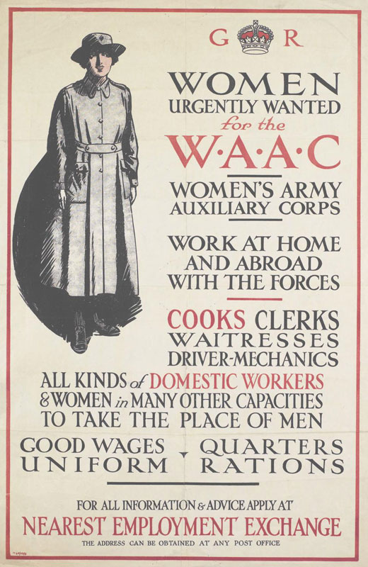 a full-length depiction of a member of the Women's Army Auxiliary Corps. text: G R WOMEN URGENTLY WANTED for the W.A.A.C WOMEN'S ARMY AUXILIARY CORPS.