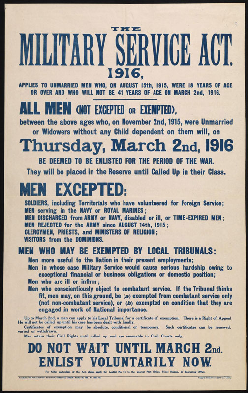 Conscription - The Military Service Act 1916