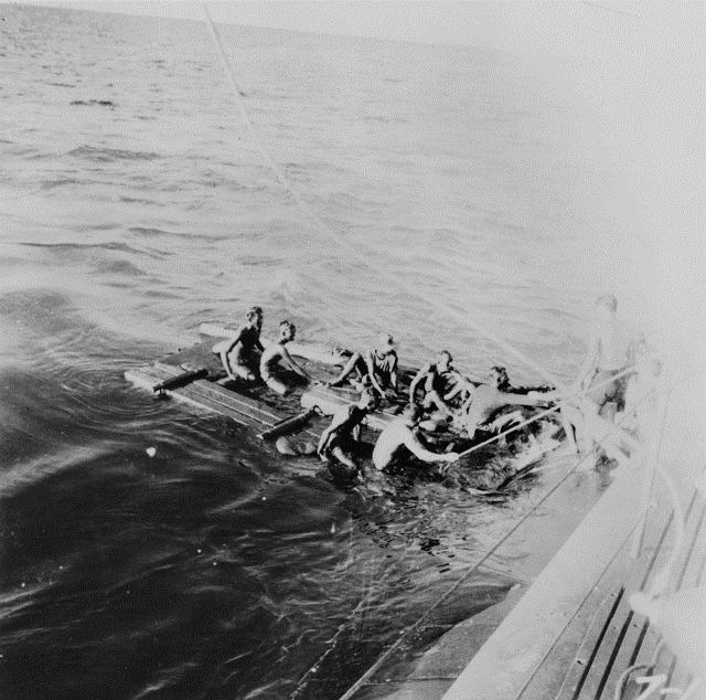 Allied POWs being rescued from the South China Sea.