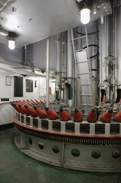 The shell room on board HMS Belfast
