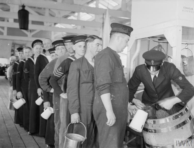 Sailors queuing for rum