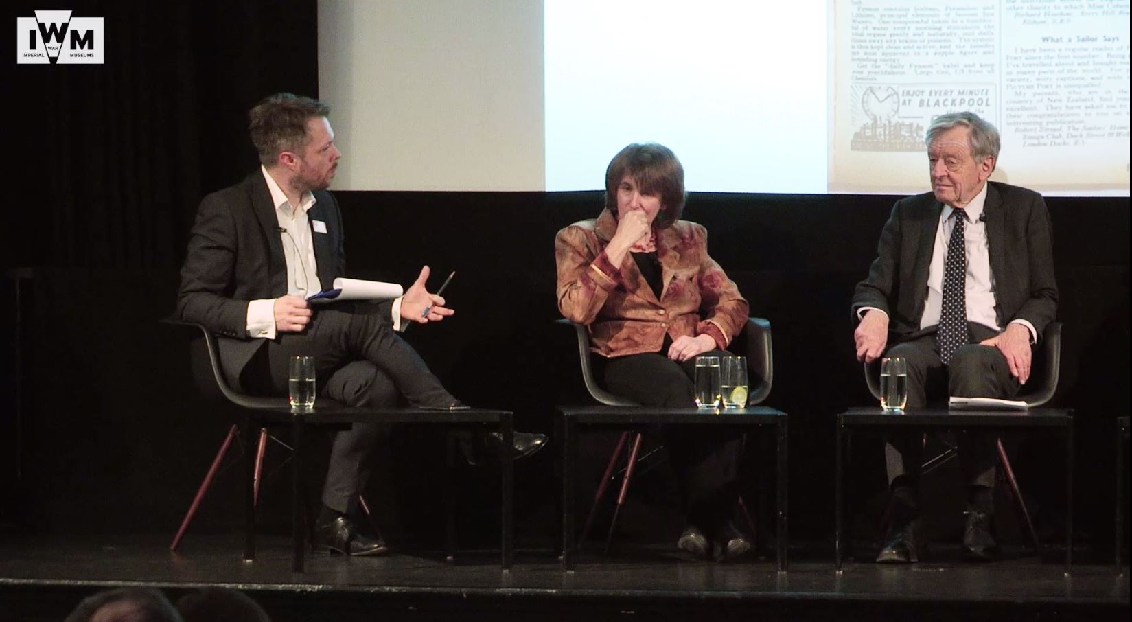 Still from a video of an event at IWM in March 2018, featuring James Bulgin, Barbara Winton and Lord Dubbs