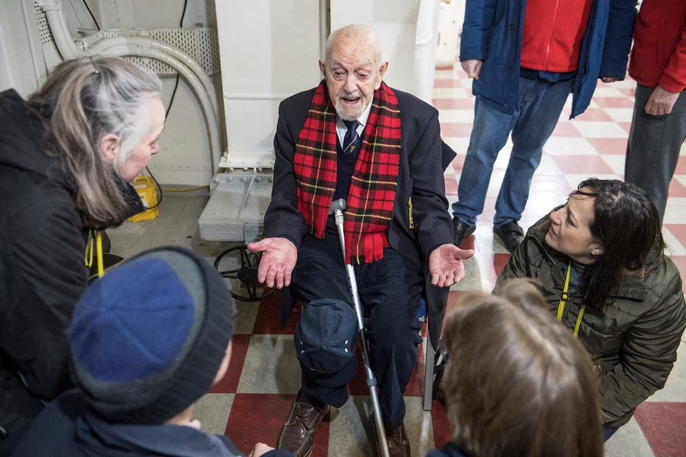 Veteran meets Families on HMS Belfast