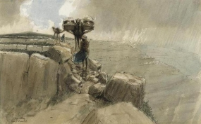 A camel train moving along an extremely narrow ledge overlooking a deep valley shrouded in rain. The camels are loaded with covered stretchers (cacolets) that carry the wounded.