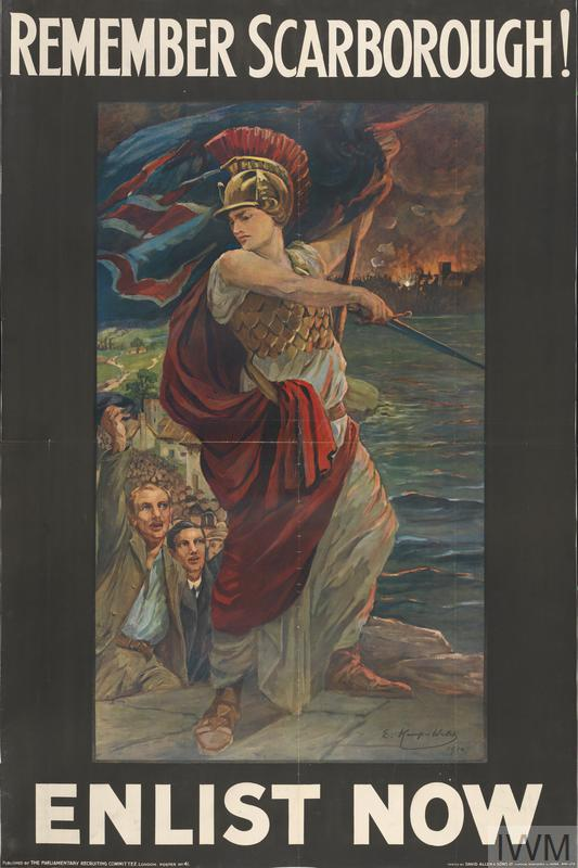 a full-length depiction of Britannia, wearing a helmet and holding a Union Flag in her left hand and a sword in her right. She stands on a cliff top with the sea behind her; to her right a procession of men are cheering her. In the background right is a burning town. text: REMEMBER SCARBOROUGH! E.Kemp-Welch 1914 ENLIST NOW