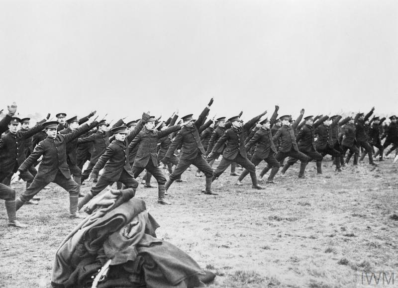 Soldiers of Kitchener's Army doing physical training exercises at Branksome near Bournemouth.