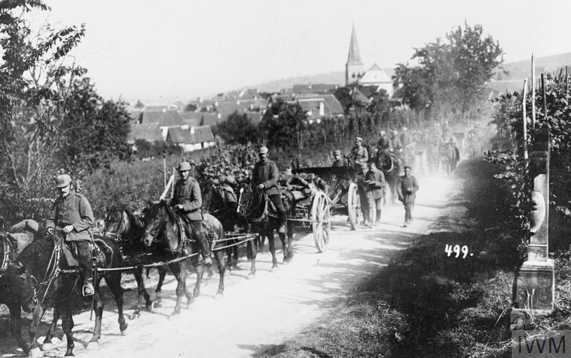 A column of German field artillery on the march during the advance into France, September 1914.