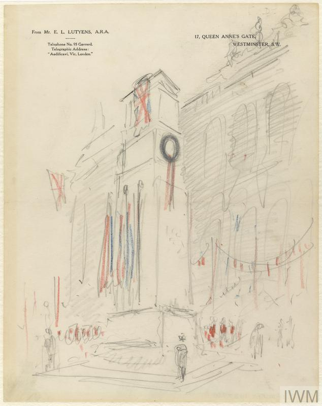a sketch of the proposed cenotaph 'in situ' with coloured flags, imagined as it would be during a remembrance ceremony with a crowd gathered before it.