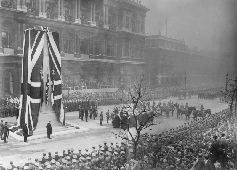 The arrival of the gun carriage bearing the Unknown Warrior at the Cenotaph, Whitehall, for the unveiling ceremony by King George V, 11 November 1920.