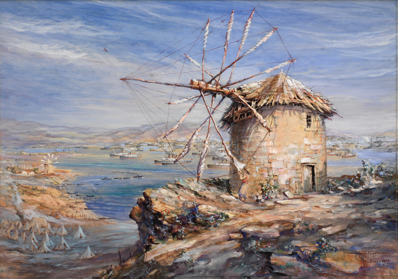 a Greek flour mill stands on a cliff in the right foreground overlooking a large
