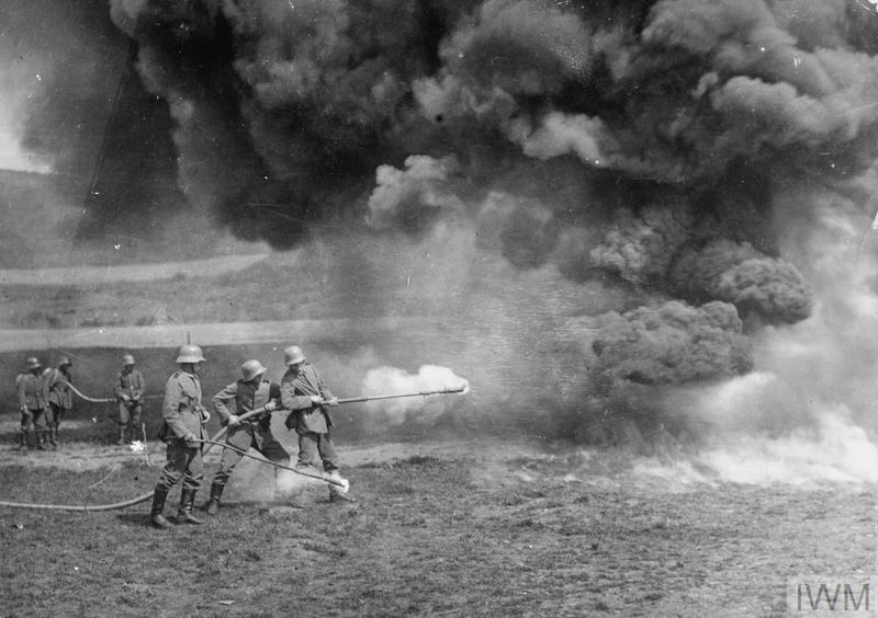 German troops practising with flamethrowers during a training session.