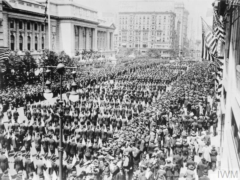 150 000 men passing the New York Public Library, watched by large crowds, during the Preparedness Parade in New York, 13 May 1916.