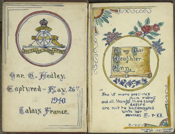 Bible associated with the Second World War experiences of Gunner C Hedley (G Battery, Royal Artillery), as a long-term prisoner of war (POW) of the Germans in Stalag VIIIB (Lamsdorf, Poland). Gunner Hedley was captured at Calais on 26 May 1940 during the British Army's retreat to Dunkirk.