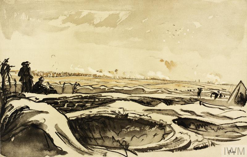 Watching our Artillery Fire on Trônes Wood from Montauban, 1918, Muirhead Bone. One of a portfolio of 60 prints.