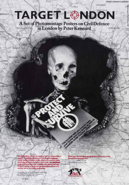 The cover of the box shows the same image as this poster. The background is lined with a close-up map of the London area and surrounding towns. The area of the city itself has been burnt out leaving a large circular hole of black space. In this space there is a skeleton holding a 'Protect and Survive' booklet.