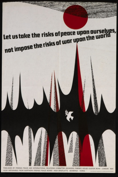 The image fills the whole design with text in black incorporated within it towards the top. All is set against a plain white background. Image: Some abstract shapes in black and red with a white dove of peace set against the large black shape. There is a red sun towards the top. Text: Let us take the risk of peace upon ourselves, not impose the risks of war upon the world.