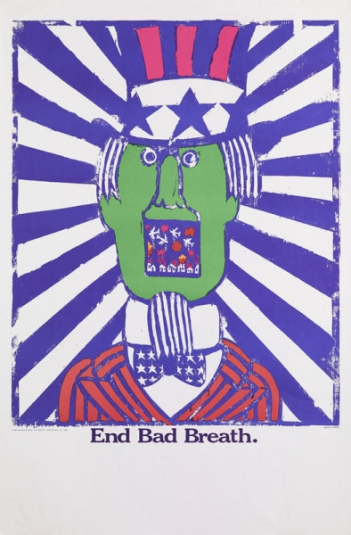 the image covers the top three quarters of the whole, with the text in blue running across below the image. The whole is within a white margin and a blank white area fills the lower quarter. image: a caricature head and shoulders portrait of Uncle Sam, with a green face, is set against a sunburst background in blue and white. Within his gaping mouth American aircraft bomb Vietnamese houses. text: END BAD BREATH.