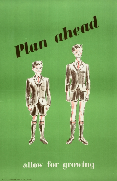two young boys dressed in school uniform. The boy on the left is smiling and wearing a uniform that fits him well. The image on the right appears to be the same boy but a little older and taller, wearing the same school uniform. He appears miserable as the uniform is far too small for him. text: Plan ahead allow for growing.