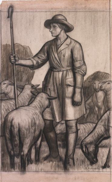 a full length portrait of a woman in a Women's Land army uniform, holding a crook, amongst a flock of sheep.