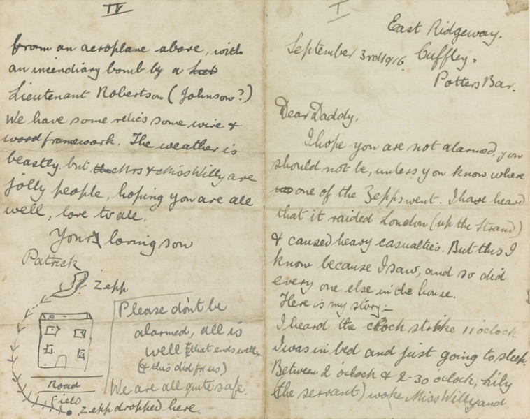 Ms letter (4pp) written by Patrick Blundstone, a schoolboy staying at Cuffley, Hertfordshire (September 1916) to his father in London, describing in graphic schoolboy detail the landing of a Zeppelin in flames close to the house and the 'roasted' condition of the crew and mentioning the heroic action by 'Lieutenant Robertson' (aka Lieutenant William Leefe Robinson VC). Also with the letter is his collection of four postcards depicting the incident.