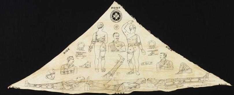 Triangular bandage supplied by the St John Ambulance Association. It is part of a first aid kit that belonged to Walter Lee, an air raid warden from Grantham in Leicestershire. It is printed with diagrams showing various ways a triangular bandage can be used. Air raid wardens were trained in first aid. They were often first on the scene of bomb damage, and might be called on to treat the injured until first aid parties or the ambulances services arrived.