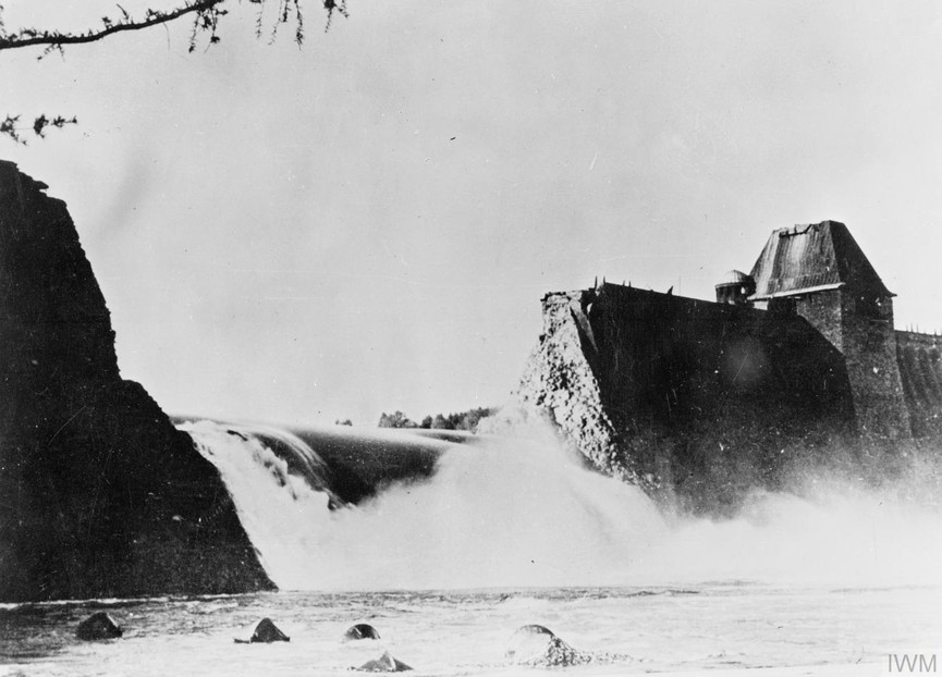 The breach in the Mohne Dam four hours after the Dambusters raid in May 1943.