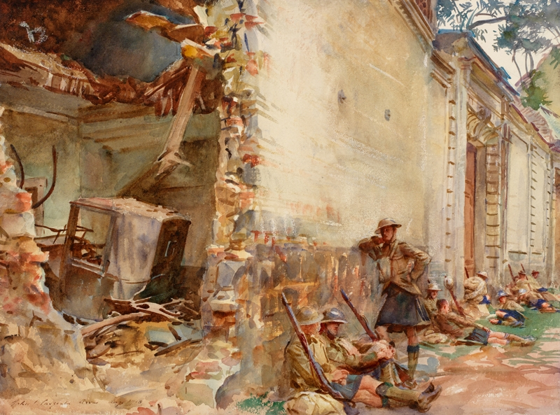 Scottish infantrymen resting against the exterior wall of a shell-damaged building. The composition is divided between the view into the coach house, and the scene in the street. The hole blasted into the wall shows the remains of a carriage lying amongst the rubble from the roof. Outside soldiers dressed in kilts sit leaning against the exterior, one figure standing. They are resting, their rifles leaning against the wall beside them.