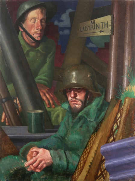 A German prisoner and his British captor, both wearing respective field uniforms and metal helmets, resting in a communication trench. A mug of drink sits on the surface between them and there is a trench signpost above them. text: (on the signpost) AU LABYRINTH