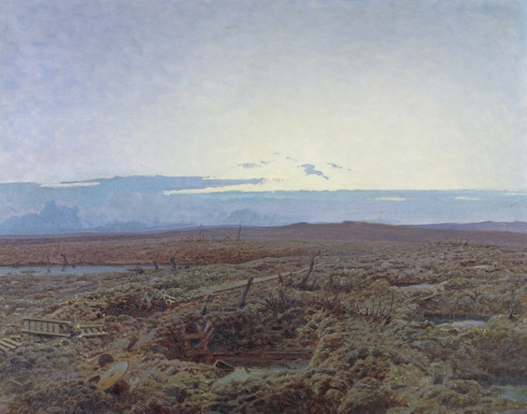 A view over the Ypres salient. There are several flooded shell-holes and trenches. The landscape has a devastated and surreal quality, with half recognisable debris littering the ground. In contrast, the upper half of the painting is filled with a clear sky and low covering of cloud.