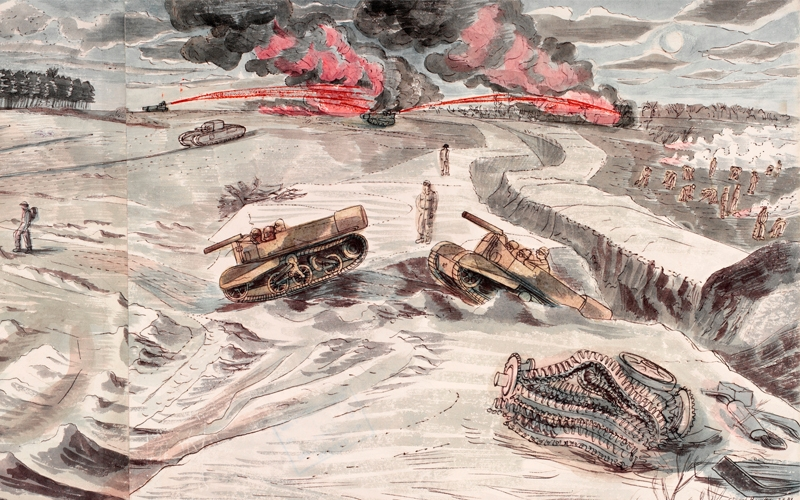 a large landscape scene of military exercises on Dunwich Common. On the far left soldiers are seen constructing tank fascines and defences. Churchill tanks are in the centre of the composition with four tanks in the middle distance, one of which appears to be being worked on by a few soldiers. On the right two Universal carriers, which appear to be equipped with flamethrowers, are negotiating a ditch and two other motorized flamethrowers are being used in the background, with two large clouds of smoke