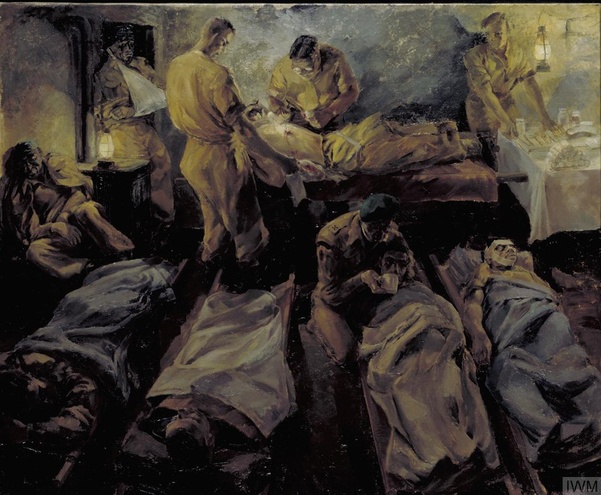 Interior of a cellar being used as a dressing station with wounded lying on stretchers attended by an orderly. A doctor examines another soldier upper background