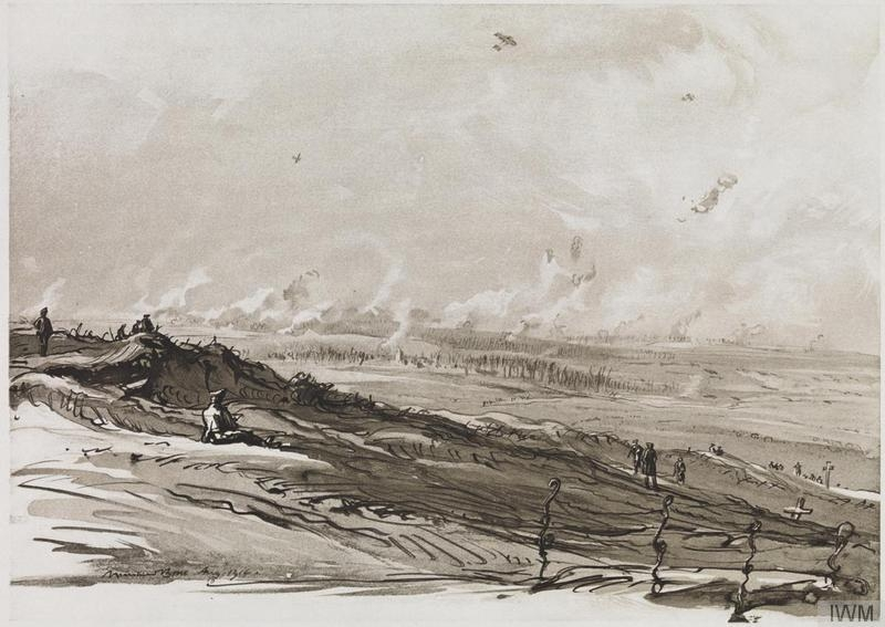 The Battle of the Somme as seen by Britain's first official war artist, Muirhead Bone. Exhibitions and published volumes of his drawings proved hugely popular.