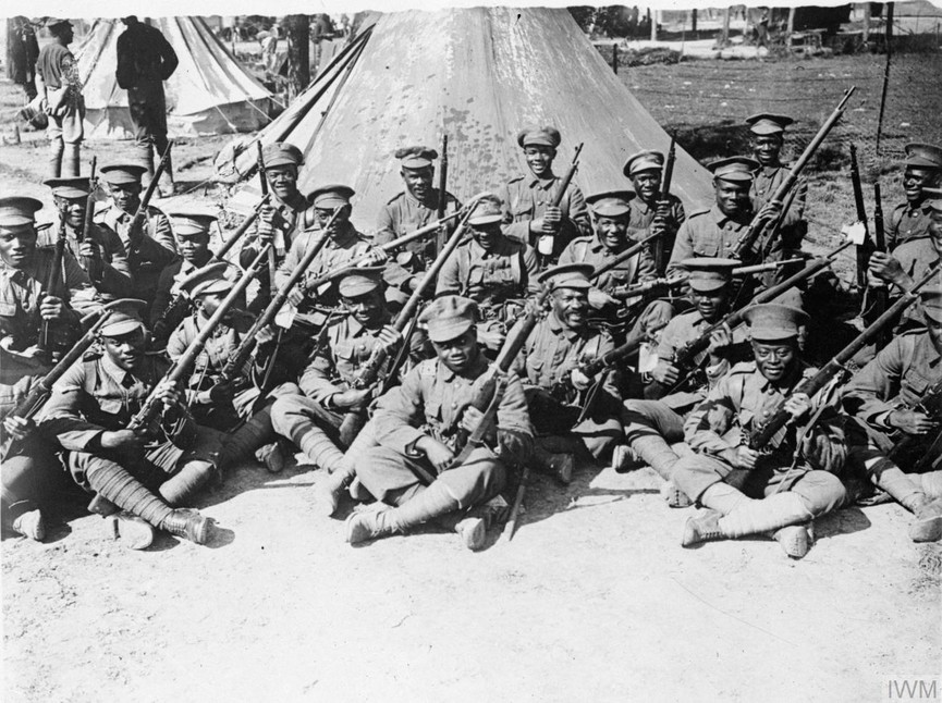 Troops of the West Indies Regiment in camp on the Albert - Amiens road, September 1916.