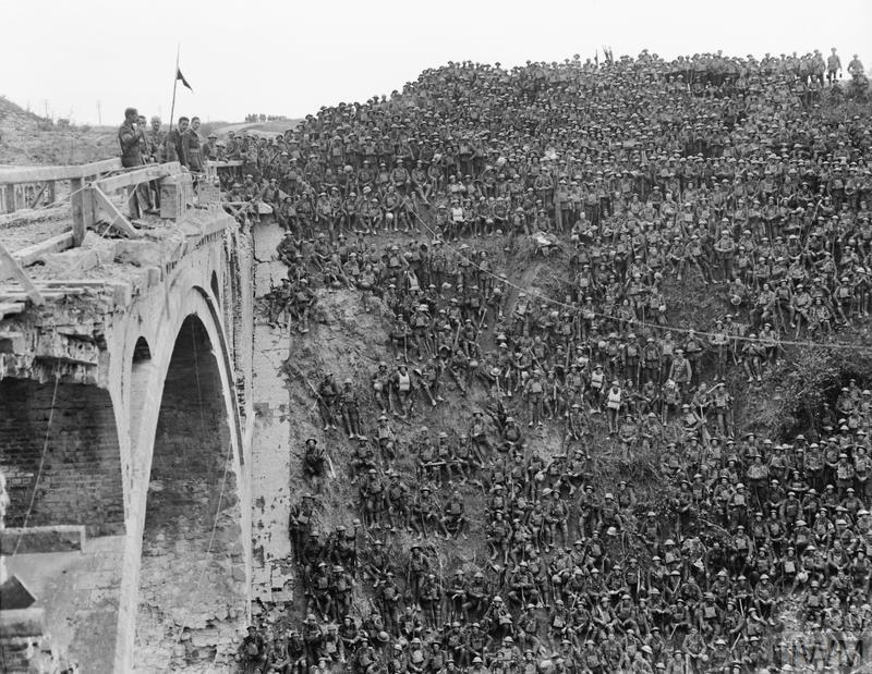 Battle of St. Quentin Canal. Brigadier-General John Vaughan Campbell VC addressing men of the 137th Brigade (46th Division) on the Riqueval Bridge over the St. Quentin Canal (part of the German's Hindenburg Line) which they crossed on 29 September 1918.