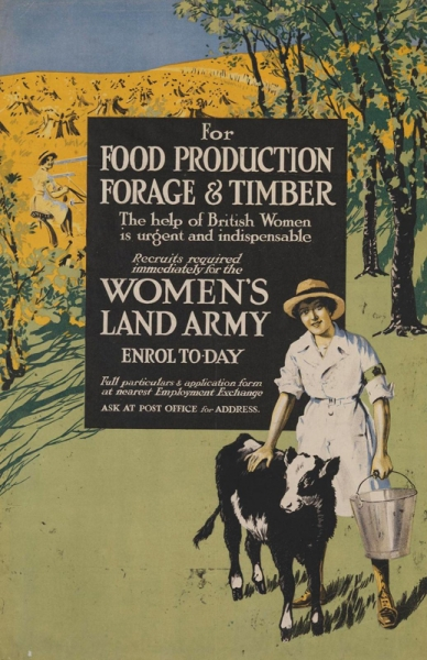 "Land Girl, full-length facing figure, in white coat and sun hat, holding a bucket in her left hand. She stands beside a small calf. Behind the figure a rectangular panel, enclosing 13 lines of text, and an agricultural landscape, fruit trees to right and a field of harvested corn to left text: ""FOR FOOD PRODUCTION FORAGE + TIMBER The help of British Women is urgent and indispensable Recruits required immediately for the WOMEN'S LAND ARMY ENROL TO-DAY""."