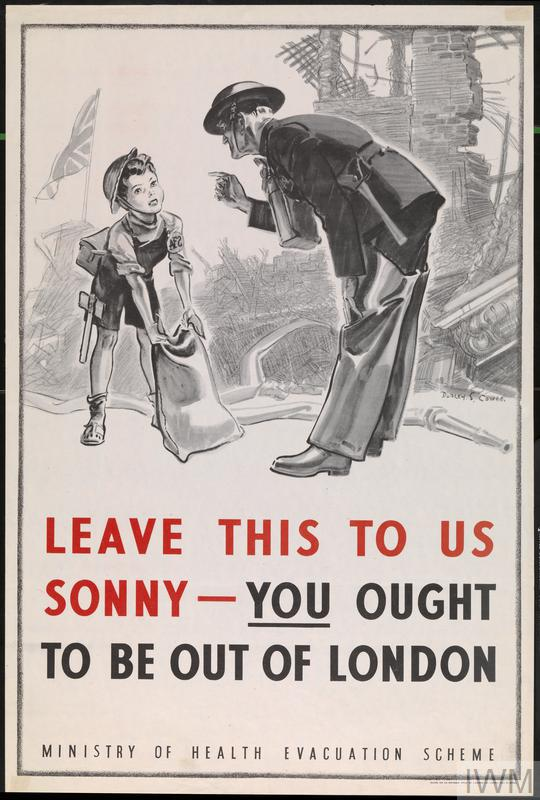 a full-length depiction of a young boy pretending to be an AFS firefighter. He wears a home-made AFS badge and attempts to lift a sandbag among the ruins of a bombed house. He is addressed by a real, adult AFS firefighter in uniform. In the background left, a Union Flag flutters atop the rubble. AFS DUDLEY. S. COWES. LEAVE THIS TO US SONNY - YOU OUGHT TO BE OUT OF LONDON MINISTRY OF HEALTH EVACUATION SCHEME PRINTED FOR H.M. STATIONERY OFFICE BY J. WEINER LTD., LONDON, W.C.1. 51-9998.