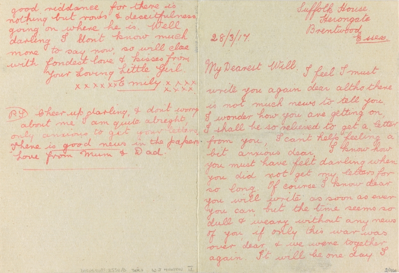 A letter from Emily Chitticks to her fiancé Private William Martin while serving with the 2/1st Royal Devon Yeomanry in Essex and Norfolk (August - March 1916) and with the 8th Battalion Devonshire Regiment (20th Brigade, 7th Division) in France (from January 1917 until his death on 27 March 1917).