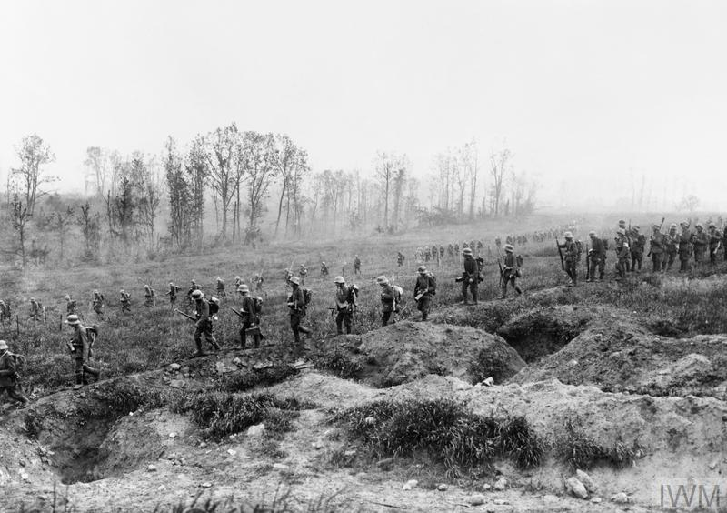 The Third Battle of the Aisne. German infantry reserves advancing towards the front line during the assault on the Chemin des Dames.